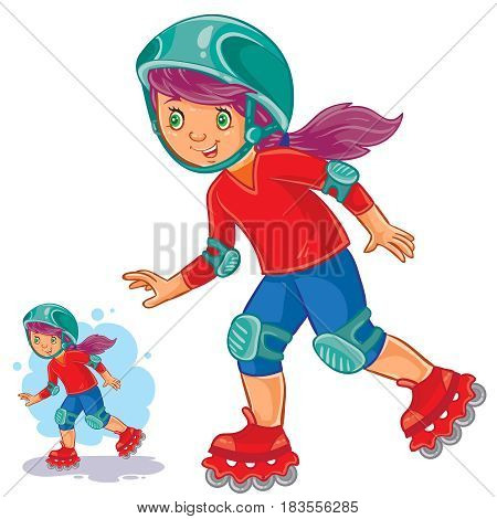 Vector illustration of girl rolls on roller skates in a protective helmet and knee pads. Print