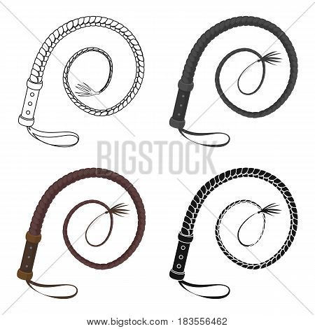 Whip icon in cartoon design isolated on white background. Rodeo symbol stock vector illustration.