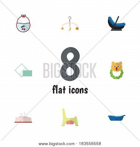 Flat Baby Set Of Mobile, Bathtub, Pinafore And Other Vector Objects. Also Includes Box, Mobile, Child Elements.