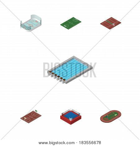 Isometric Sport Set Of B-Ball, Fighting, Run Stadium And Other Vector Objects. Also Includes Hockey, B-Ball, Volleyball Elements.