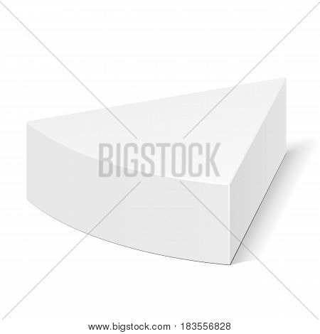 White Cardboard Triangle Box Packaging For Food, Gift Or Other Products. Illustration Isolated On White Background. Mock Up Template Ready For Your Design. Product Packing Vector EPS10
