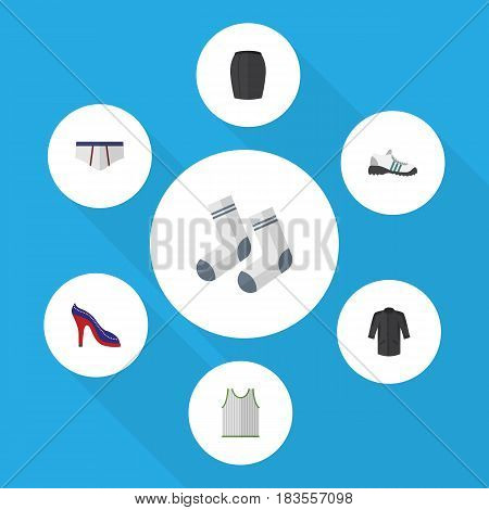 Flat Garment Set Of Singlet, Uniform, Foot Textile And Other Vector Objects. Also Includes Sandal, Skirt, Underwear Elements.
