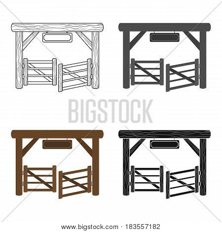 Paddock gate icon in cartoon design isolated on white background. Rodeo symbol stock vector illustration.