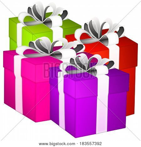 gift boxes. gift boxes with ribbons on white background