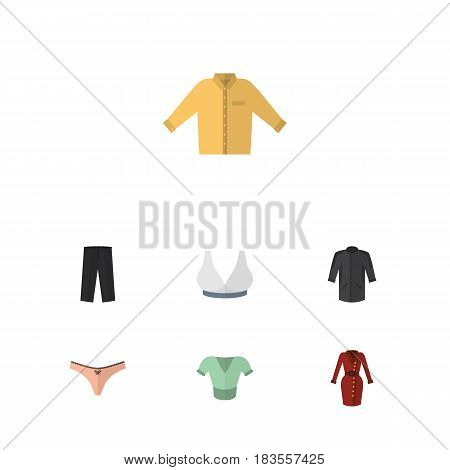 Flat Clothes Set Of Brasserie, Clothes, Banyan And Other Vector Objects. Also Includes Pants, Underwear, Kimono Elements.