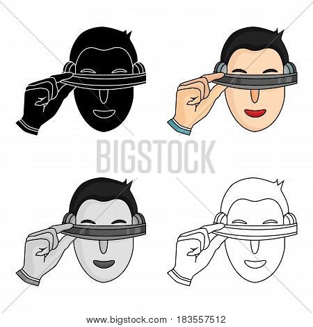 Player with virtual reality headcartoon icon in cartoon style isolated on white background. Virtual reality symbol stock vector illustration.