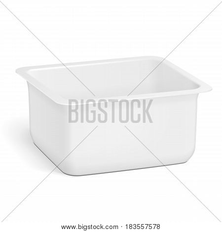 White Empty Blank Styrofoam Plastic Food Tray Container Box Opened, Cover. Illustration Isolated On White Background. Mock Up Template Ready For Your Design. Vector EPS10