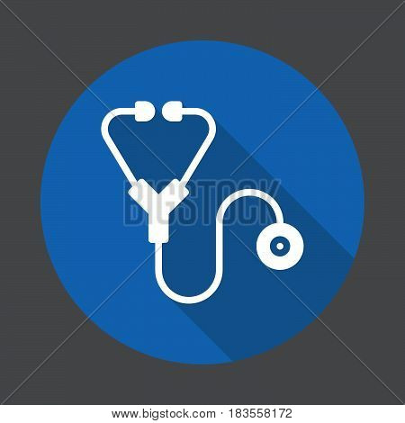 Stethoscope flat icon. Round colorful button circular vector sign with long shadow effect. Flat style design