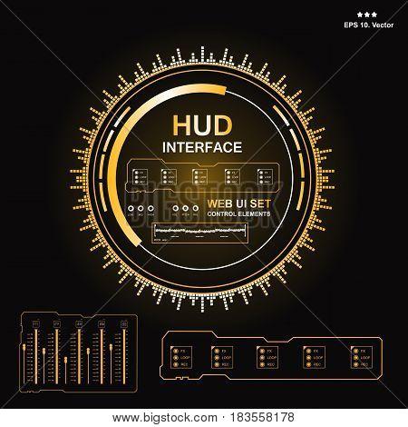 Futuristic Blue Virtual Graphic Touch User Interface, Music Interface, Tracks, Volume Controls