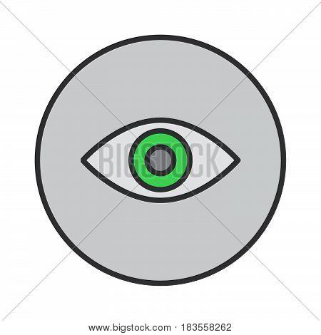 Eye filled outline icon round colorful vector sign circular flat pictogram. Symbol logo illustration