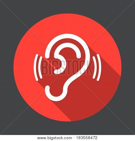 Ear hearing flat icon. Round colorful button circular vector sign with long shadow effect. Flat style design