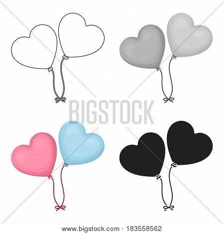 Baloons icon in cartoon style isolated on white background. Romantic symbol vector illustration.