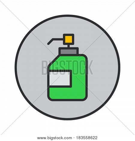 Antibacterial hand sanitizer disinfection gel filled outline icon round colorful vector sign circular flat pictogram. Symbol logo illustration