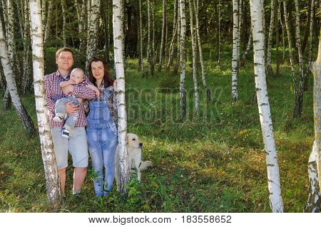 Young happy family: father, mother and their son having fun together outdoor in the birch grove. Pretty little son on father hands. The dog is with them. Parents and son look happy and smile