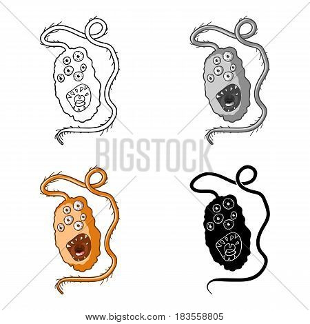 Orange virus icon in cartoon design isolated on white background. Viruses and bacteries symbol stock vector illustration.