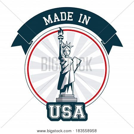 made in USA statue of liberty banner design vector illustration