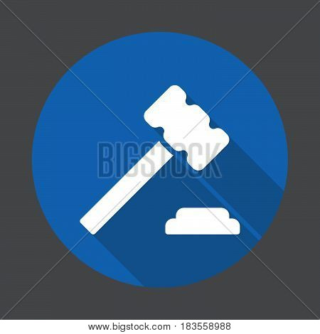 Judge hammer gavel flat icon. Round colorful button circular vector sign with long shadow effect. Flat style design