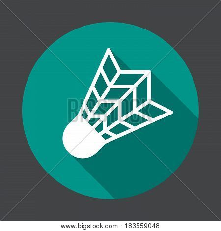 Badminton shuttlecock flat icon. Round colorful button circular vector sign with long shadow effect. Flat style design