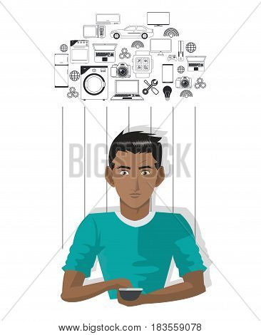 young man smartphone internet of things vector illustration