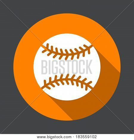 Baseball ball flat icon. Round colorful button circular vector sign with long shadow effect. Flat style design