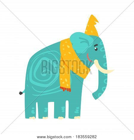 Cute turquoise cartoon elephant in a yellow hat and scarf. Jungle animal colorful character vector Illustration isolated on a white background