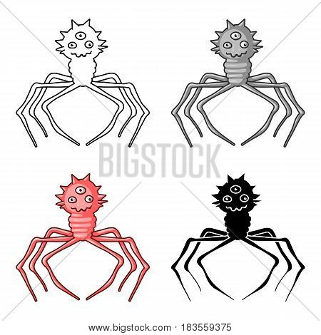 Red virus icon in cartoon design isolated on white background. Viruses and bacteries symbol stock vector illustration.