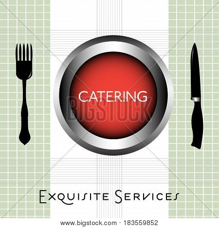 Colorful background with fork, knife and the word catering written inside of a red plate