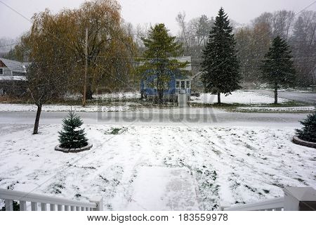 HARBOR SPRINGS, MICHIGAN / UNITED STATES - NOVEMBER 23, 2016: Fresh snow falls on Fourth Street, in a residential neighborhood of Harbor Springs, during November.