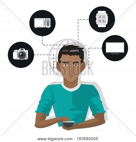 internet things man with smartphone technology wireless appliance vector illustration