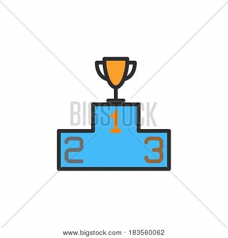 Winners podium with trophy filled outline line icon line vector sign linear colorful pictogram isolated on white. Symbol logo illustration. Editable stroke. Pixel perfect