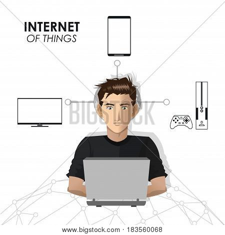 internet of things man network game mobile tv vector illustration