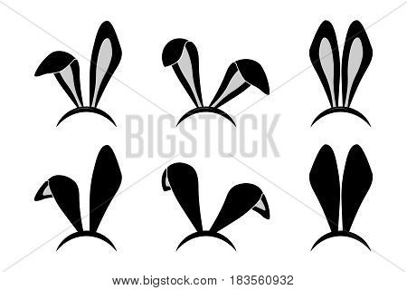 Easter bunny ears mask. Rabbit ear spring hat set isolated on white background. Vector illustration.