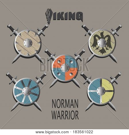 Weapons. The Norman warrior.Crossed swords and shields. Vector image. Design logo, illustrations, book, textiles, print on fabric and paper.