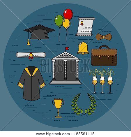 Icon set of graduation celebration. Graduation day. Vector. Illustration