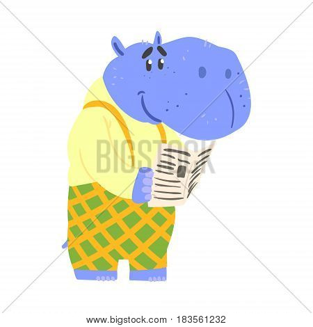 Cute cartoon hippopotamus reading newspaper. African animal colorful character vector Illustration isolated on a white background