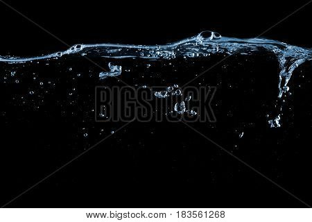 Clear water surface with ripple and bubbles