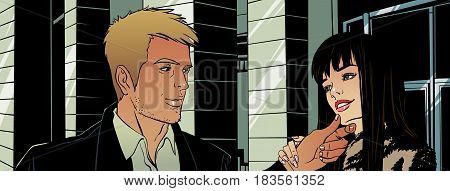 Young man and his girlfriend. Vector illustration.