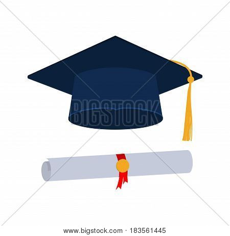 Icons. Graduation cap or hat vector illustration in the flat style. Graduation cap isolated on the background.