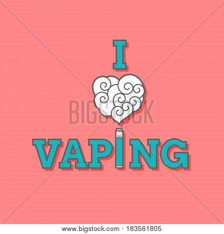 I love vaping illustration colored on red background. Mechanical mod included. Placard, postcard, t-shirt ready design. EPS10