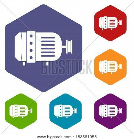 Electric motor icons set hexagon isolated vector illustration