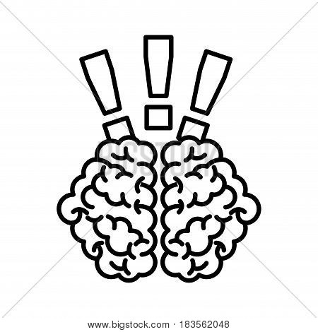 storm brain with exclamation mark isolated icon vector illustration design