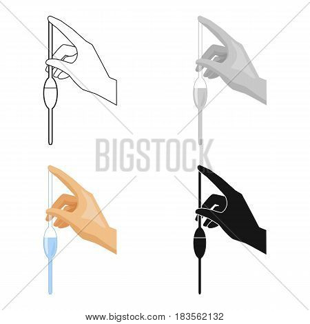 Filling of a bulb pipette by water icon in cartoon design isolated on white background. Water filtration system symbol stock vector illustration.