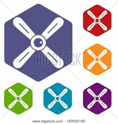 Propeller icons set hexagon isolated vector illustration
