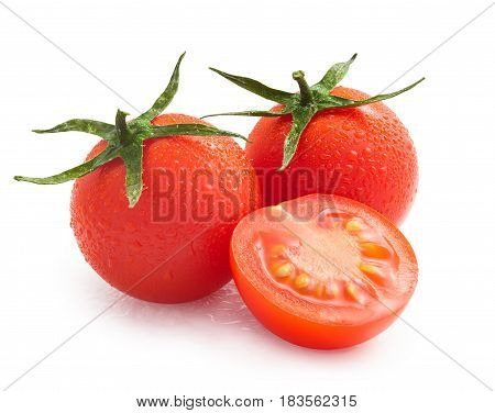 cherry tomatoes with water drops isolated on white background