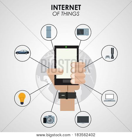 internet of things hand holding smartphone digital network technology vector illustration