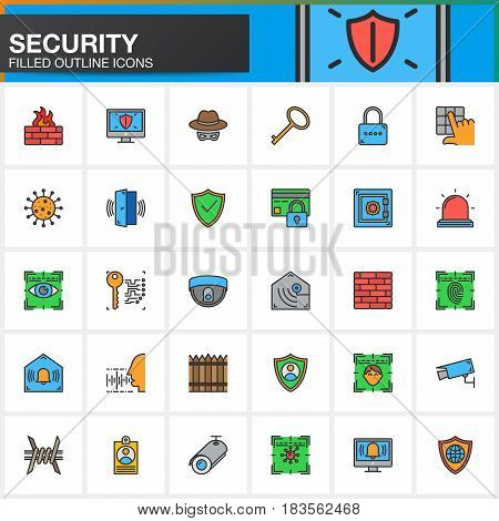 Security protection access line icons set filled outline vector symbol collection linear colorful pictogram pack. Signs logo illustration. Include icons as login shield lock alarm spy virus