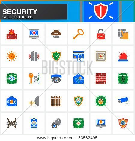 Security protection access vector icons set modern solid symbol collection filled colorful pictogram pack. Signs logo illustration. Include icons as login shield lock alarm spy virus camera