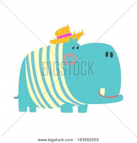 Cute cartoon blue hippopotamus in straw hat. African animal colorful character vector Illustration isolated on a white background