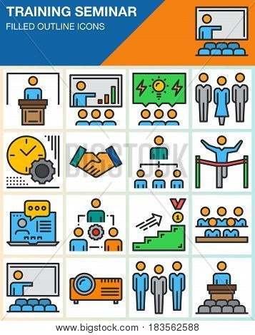 Business training seminar presentation line icons set filled outline vector symbol collection linear colorful pictogram pack isolated on white. Signs logo illustration web graphics