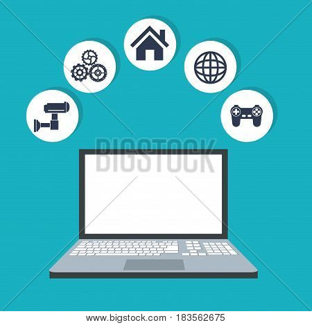 internet things laptop web digital wireless system technology image vector illustration